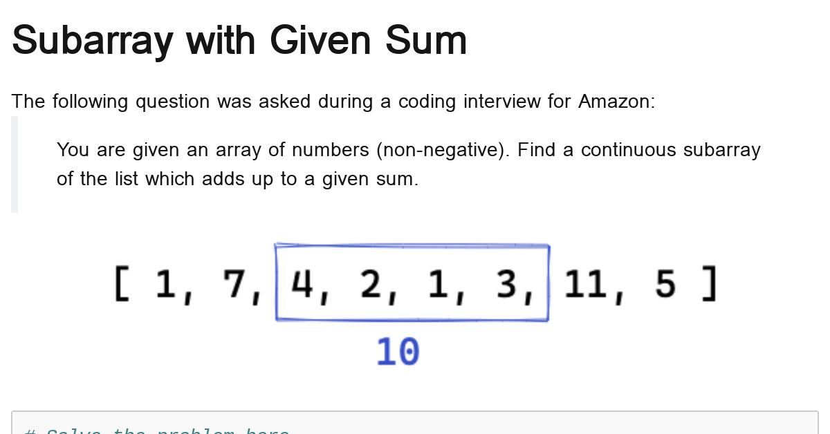 python-subarray-with-given-sum